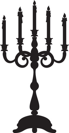 candelabra: Black silhouette of candelabrum with five candles Illustration