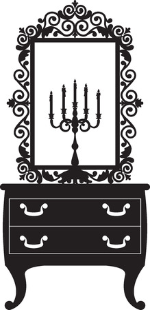 antique furniture: Antique furniture with candlestick and mirrow Illustration