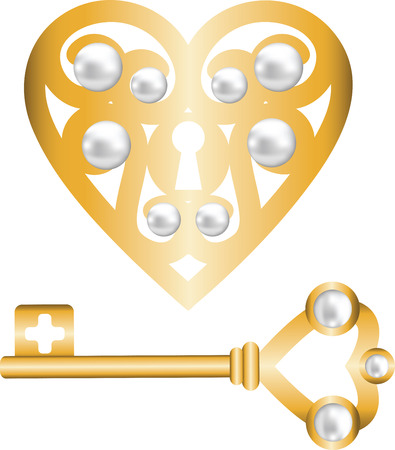 gold skeleton key and lock shaped heart Vector