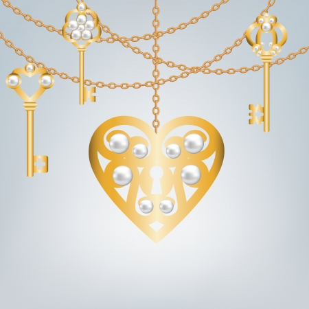 gold skeleton key and lock shaped heart Stock Vector - 22553361