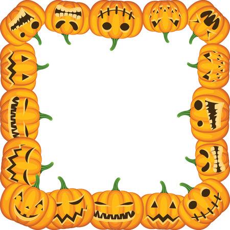 pumpkin border: Halloween with pumpkin frame Illustration