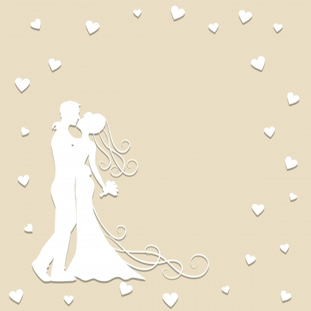 Paper wedding card with groom and bride