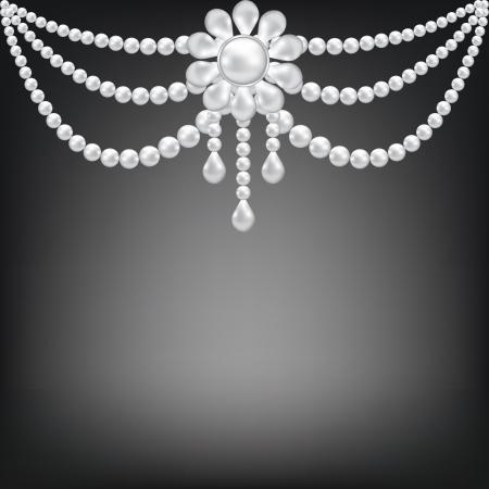 perlas: Fondo negro con decoración broche de perlas Vectores