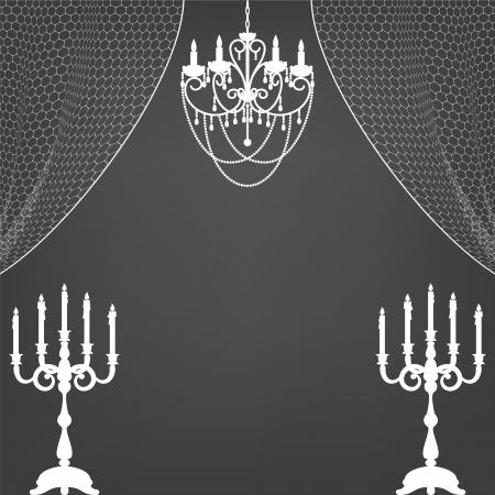 sconce: Interior de la vendimia con velas, cortinas y l�mpara