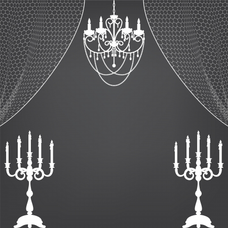 Vintage interior with candlestick, curtains and chandelier Illustration