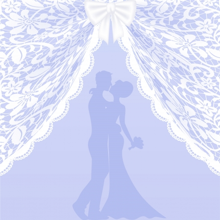 Wedding card with kissing groom and bride, curtains and ribbon bow Vector