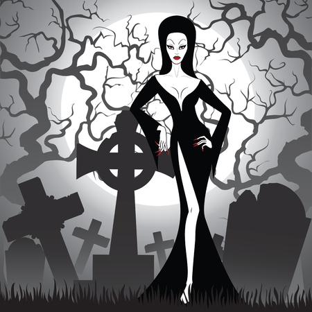 devil woman: witch on cemetery at night
