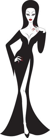 vampira sexy: Bruja sexy hermosa aislado en blanco Vectores