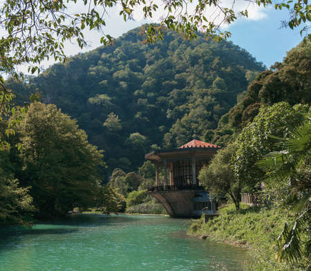 abkhazia: House on the banks of the river in the mountains Stock Photo