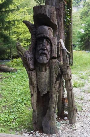 slavic: Wooden slavic idol in the forest