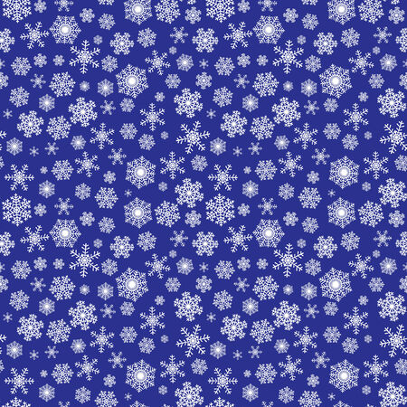 Seamless winter Christmas pattern with snowflakes on dark blue background Illustration