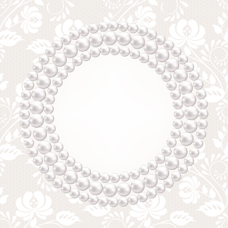backgrouns: Wedding card with pearl necklace and lace backgrouns