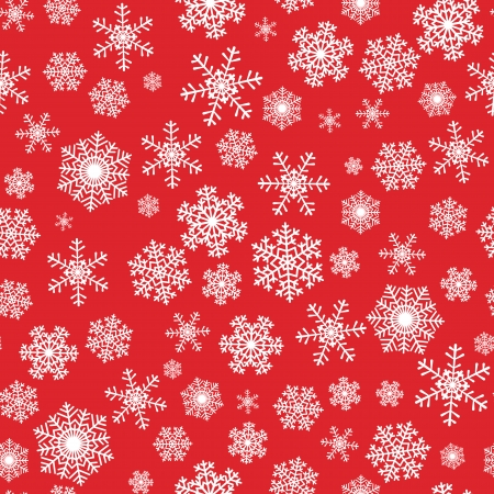 wintery day: Seamless winter Christmas pattern with snowflakes on red background