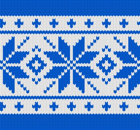 Christmas winter scandynavian knitted seamless blue pattern Vector