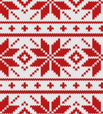 scandynavian: Christmas winter scandynavian knitted seamless red pattern Illustration