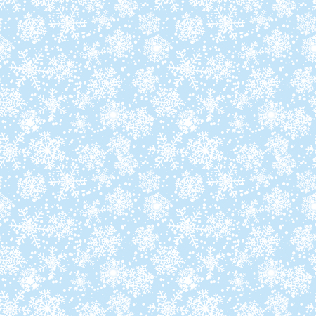 Seamless winter Christmas pattern with snowflakes on blue background Vector