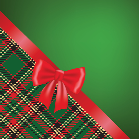 christmas plaid: Christmas card with red ribbon bow and tartan background
