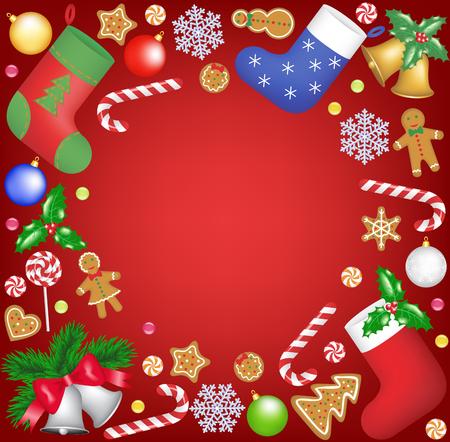christmas: Noel dekorasyon ve tatlılar çerçeve Çizim