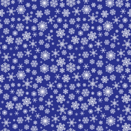 Seamless winter Christmas pattern with snowflakes on dark blue background Vector