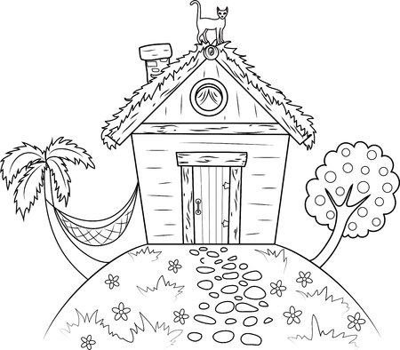 Hut on island with palm and tree Vector