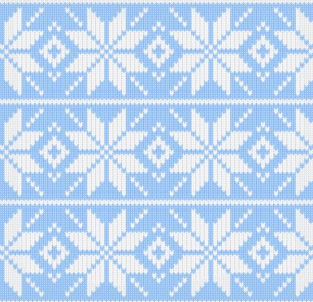 Christmas winter scandynavian knitted seamless blue pattern Vector