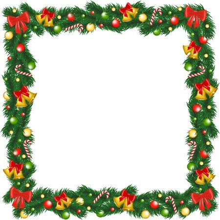 Slinger van Kerstmis frame met klokken, snuisterij en suikerriet Stock Illustratie