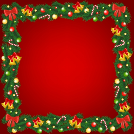 Christmas garland frame with bells, bauble and sugar canes Vector