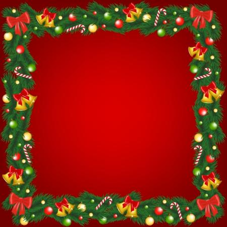 the decor: Marco de la guirnalda de Navidad con campanas, chucher�a y ca�as de az�car Vectores