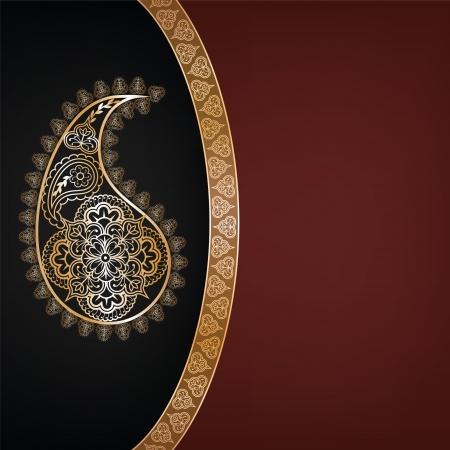 Hintergrund mit indischen Sari-Muster-Einladung oder Grusskarte Illustration