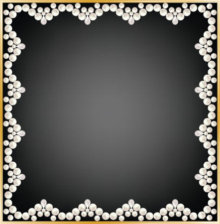 pearl jewelry: Greeting or invitation card with pearl frame