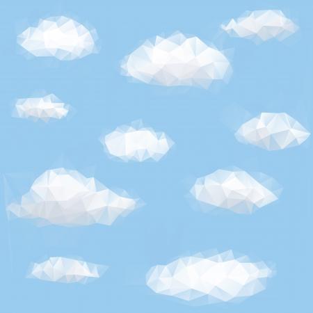 하늘과 구름과 다각형 삼각형 배경 일러스트