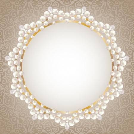 真珠のフレームを使用してグリーティングや招待状カード  イラスト・ベクター素材