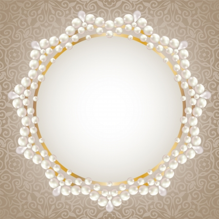 pearl: Greeting or invitation card with pearl frame
