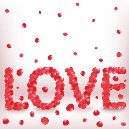 Valentine declaration of love with rose petals