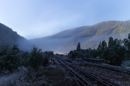 Autumn mountain landscape with railway Frosty weather