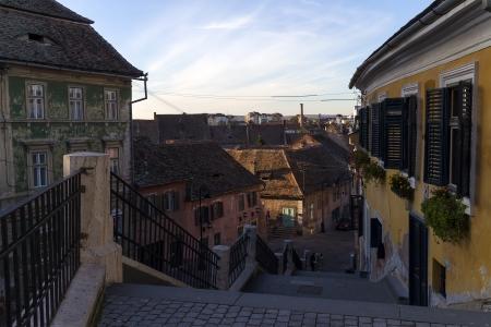 rumania: European medieval street of Sibiu in Romania Stock Photo