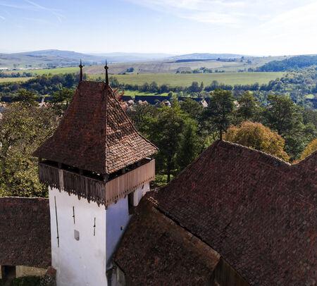 rumania: Tower of Viscri fortified church in Romania Stock Photo