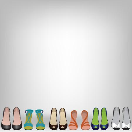 kleedkamer: Schoenen op de vloer in de winkel of kleedkamer Stock Illustratie