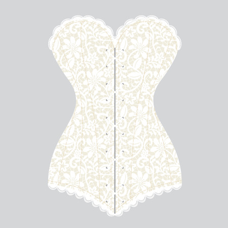 bodice: Lace white vintage corset on gray background Illustration