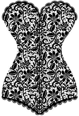 corsetto: Pizzo nero corsetto vintage isolato su bianco