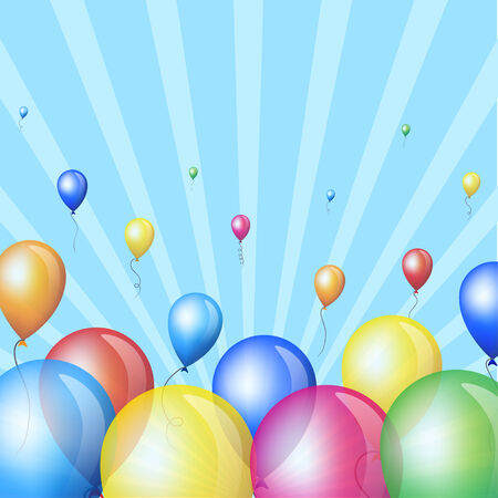 Holiday background with colorful balloons in sky Vector