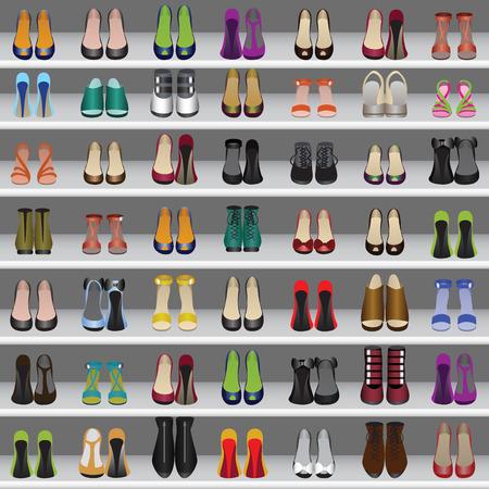 kleedkamer: Naadloze achtergrond met schoenen op de planken in winkel of kleedkamer