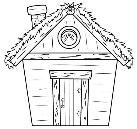 chaume: Vieille cabane avec un toit de paille isol� sur blanc