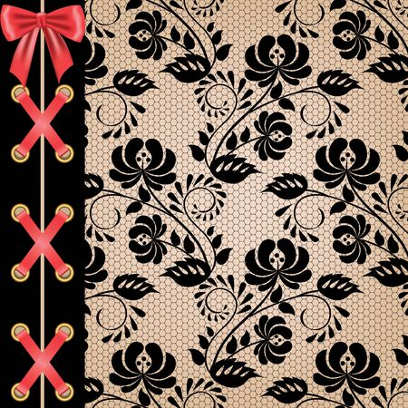 lacing: Black background with corset lacing and red ribbon