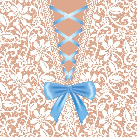 White lace background with corset lacing and bow