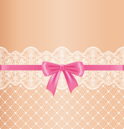 Garter of bride. Template for wedding, invitation or greeting card with lace background and pink ribbon Illustration