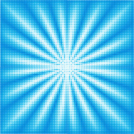 halftone background: Sun beans on blue sky. Halftone effect