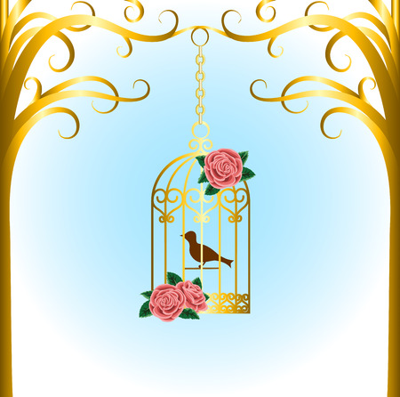 Vintage bird cage hanging on tree branch