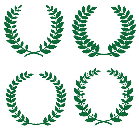 Set of green laurel wreathes for design Vector
