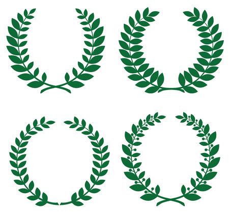 Set of green laurel wreathes for design Illustration